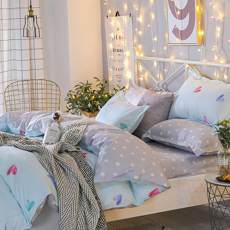 SlowDream Love Heart Duvet Cover Bed Sheet Pillowcase Gift Bedding Set Bed Cover Bedspread Linens Decoration Bedclothes Textiles