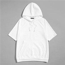 81c2345926e589 SweatyRocks mężczyźni sznurek z kapturem tunika Tee Streetwear krótki rękaw  mężczyzna białe bluzy 2019 lato luźny pulower bluza