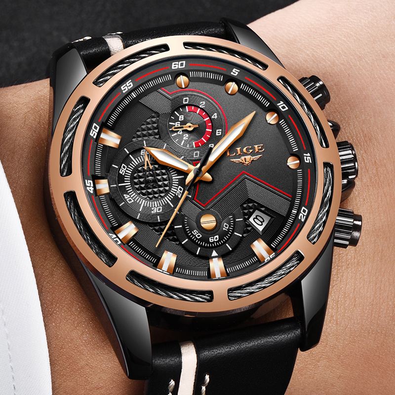LIGE Mens Watches Fashion Top Brand Luxury Casual Quartz Watch Men Leather Military Waterproof Sports Watches Relogio Masculino loreo casual mens watches brand luxury leather men military wrist watch fashion men sports quartz watch relogio masculino m32