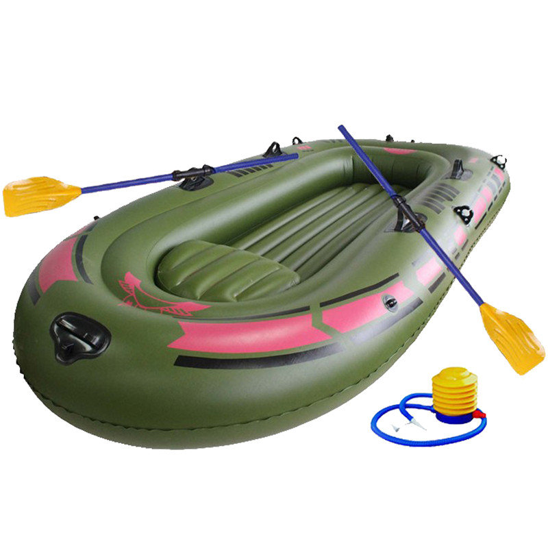 1 Set One Person Portable Inflatable Single Boat High Strength PVC Rubber Fishing Boat 150x90cm Boat with Paddles and Pump in one person