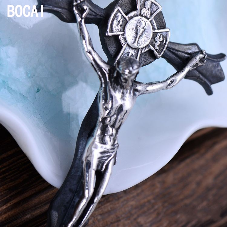 S925 argent pur vintage Thai argent catholique reliques crucifixion amertume croix pendentif
