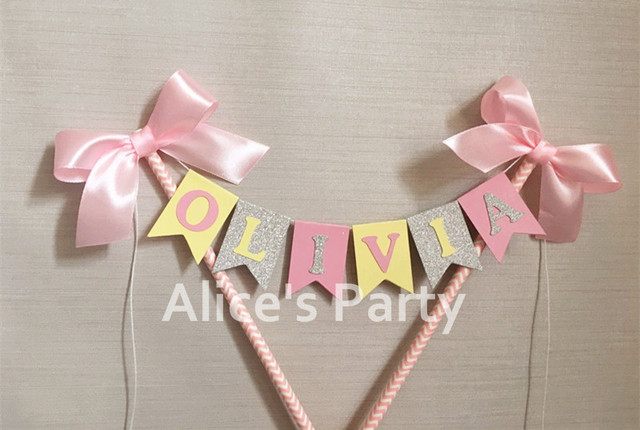 Aliexpress Buy Custom Yellow Pink Silver Name Cake Topper