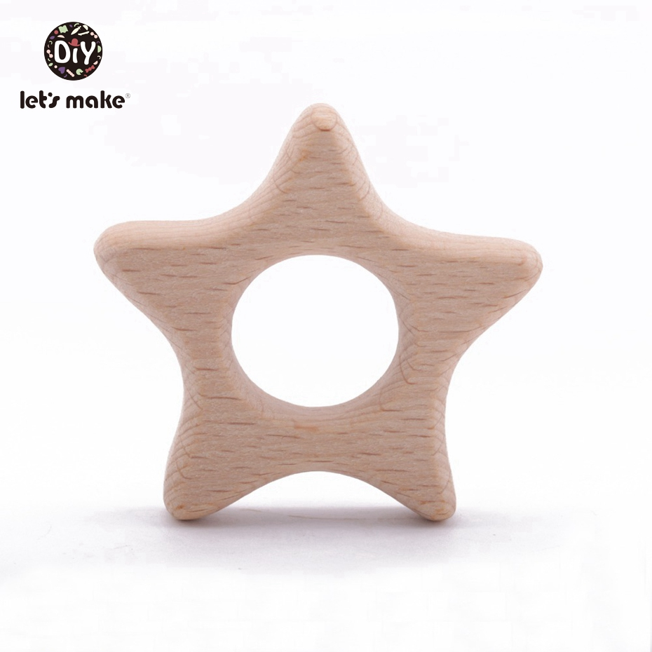 Let'S Make 20Pc Wooden Teether For Baby Newborn Gift Beach Wood Teething Toys Pendant Crib Mobile Rattle Wooden Baby Teether