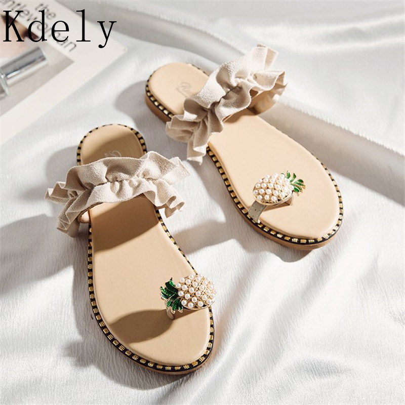 2019 Hot Summer Flat Heel Women Ladies Sandals Toe Ring Bohemia Sandals With Ananas Flat Shoe Outdoor Holiday Slides 35-39
