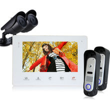 Homefong 1V2V2 Door Video Camera HD Door Phone Home Intercom Video two Doorbell Camera Panel  and one 7″TFT Indoor Monitor