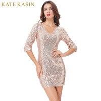 Kate Kasin Gold Sequins Cocktail Dresses 2017 Knee Length Ladies 3 4 Sleeve V Neck Formal