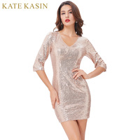 Kate Kasin Gold Sequins Cocktail Dresses 2017 Knee Length Ladies 3 4 Sleeve V Neck Formal