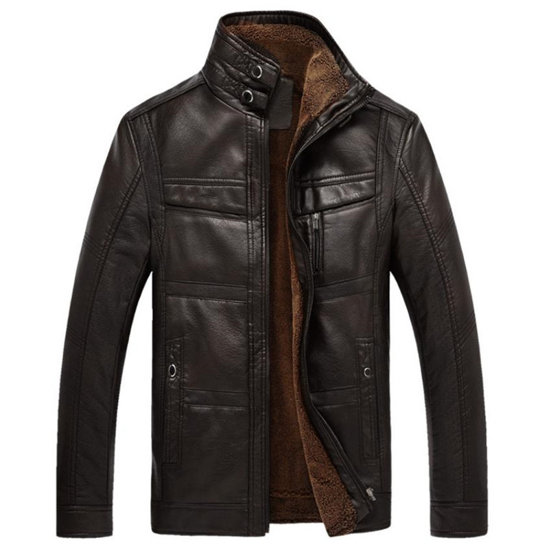 Autumn And Winter High quality Males's Leather-based Jacket Heat Enterprise Informal Pu Leather-based Jacket Plus Velvet Strong Coloration Stand Collar Coat