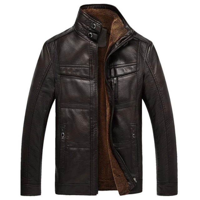 Autumn and winter quality men's leather jacket warm business casual PU leather jacket plus velvet solid color stand collar coat