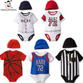 Summer Cotton Baby Rompers Infant Toddler Jumpsuit Short Sleeve Hat 2Pcs Baby Boy Basketball Clothing Newborn Overall Clothes