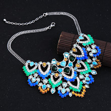 Hyperbole Vintage Multicolor Imitation Gemstone Big Necklace For Women Party Chunky Statement Necklace Jewelry Gifts(China)