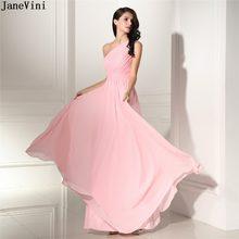 7aa9666977 JaneVini Elegancki Jedno Ramię Różowy Suknie Druhna Linia Bez Rękawów Lace-up  Powrót Szyfonowa Długa Party Prom Suknie dla wesel.