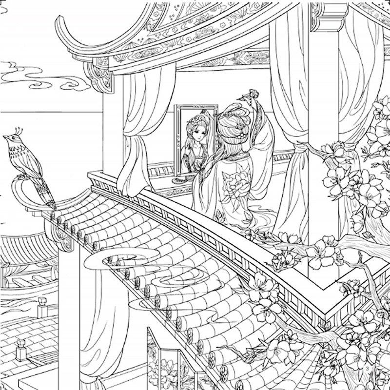 Cina Buku Mewarnai Dewasa Anak Kuno Kecantikan Arsitektur Lukisan Menggambar
