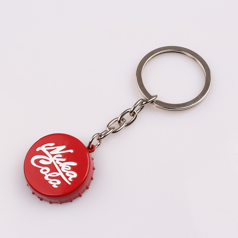 Game series Nuka Cola red Keychain personality Car Keyring Bottle Cap Key Chain for Women and Men unique Valentines day gift