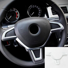For Skoda Octavia 2016 2017 2018 ABS Chrome Car Steering Wheel Cover Trim sticker Car Styling Auto Accessories 1pcs car braid on the steering wheel cover for skoda octavia 2014 skoda fabia 2013 auto wheel covers interior accessories car styling