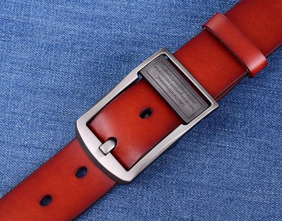 Ремни классические повседневные Модные дикие прочные пояса из натуральной кожи мужские кожаные пояса tide 122931 - Цвет: Красный
