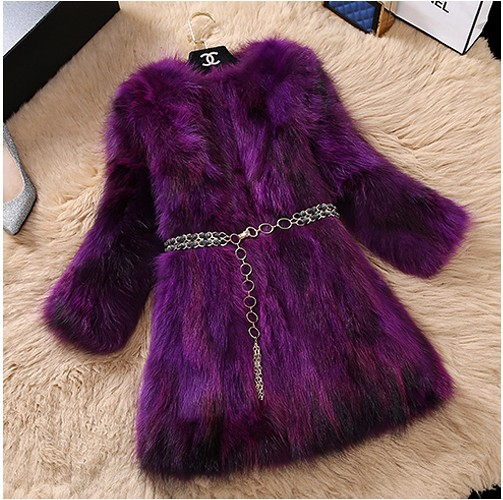 The new han edition female fox fur round collar short fur long nine points raccoon fur coat of cultivate ones morality on sale
