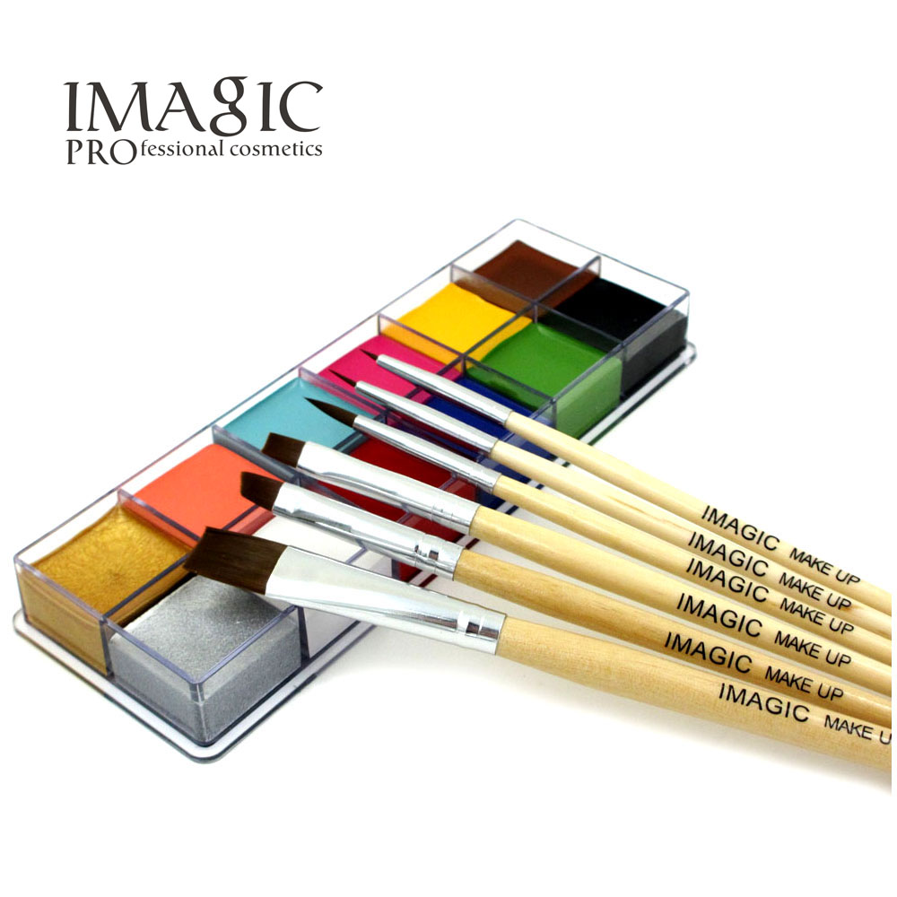 12 color pigment with brush  Halloween Professional  masquerade body painting paint theater clown face paint body paint pigments imagic cosmetics body painting flash tattoo palette halloween painting skin wax professional makeup remover painting tools