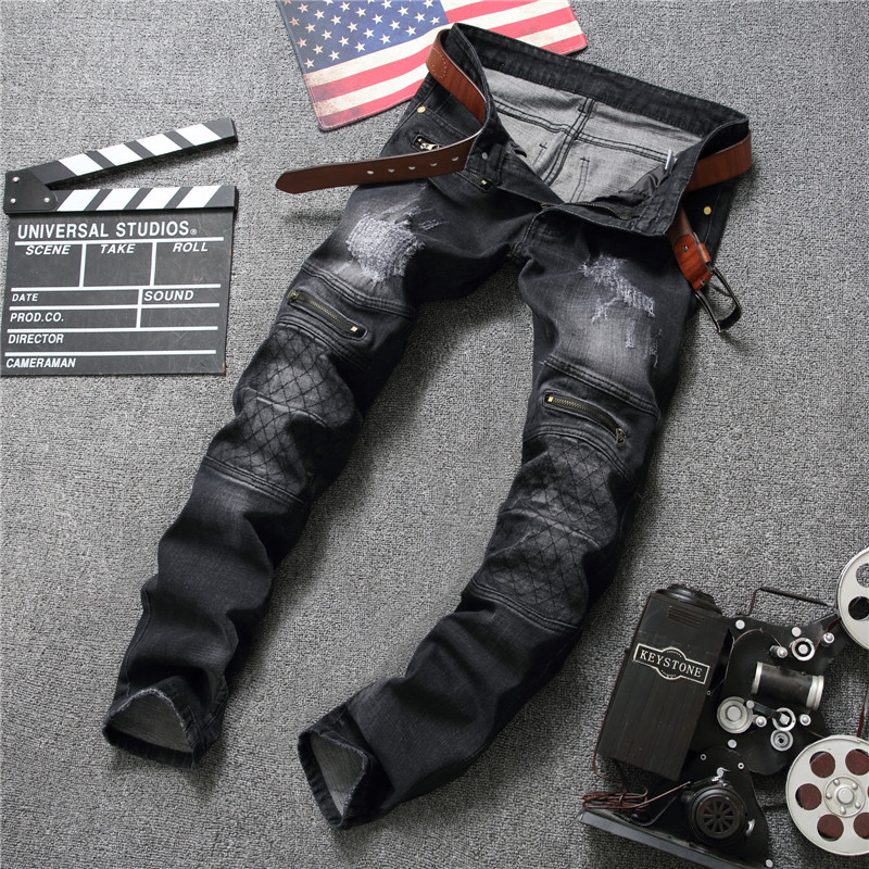 Newsosoo Men Retro Jeans Black Knee Rap Hole Biker Jeans Men Hip Hop Punk Loose Slim Fit Moto Destroyed Ripped Denim Mens Pants цены онлайн