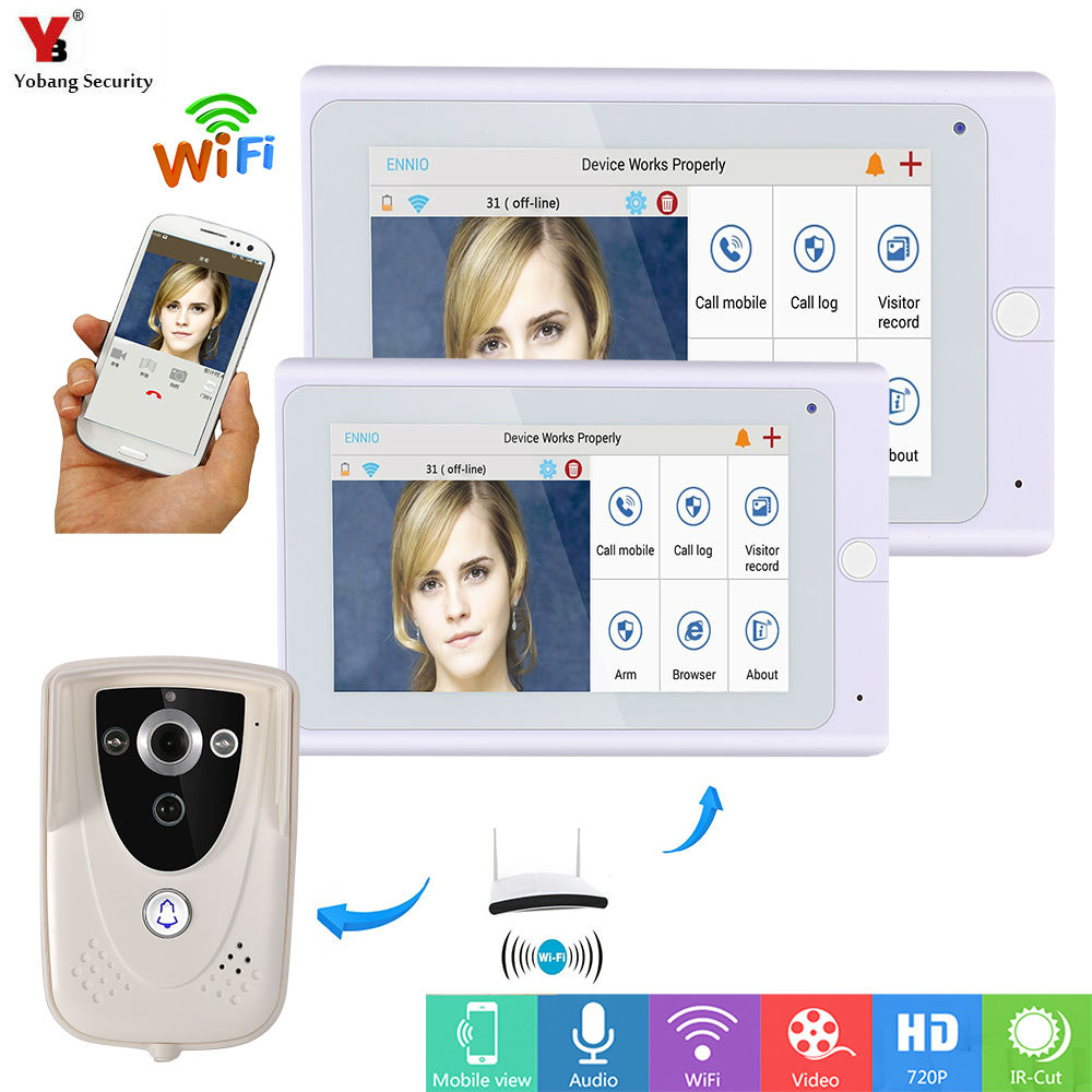 Yobang Security 7inch Wireless/Wifi IP Video Door Phone Doorbell Intercom Entry System with 2 Monitor 1 Outdoor camera PIR