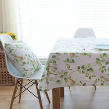 Hot Countryside Modern Bird Flower Print Tablecloth Dining Table Cover Rectangle Cloth Wedding Home Decoration tafelkleed