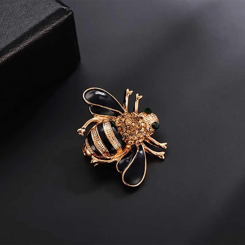 Hermosa nueva Broches de abeja Esmalte de Broches de oro Color champán hiyab de diamante de imitación pines juego de tronos Halloween joyas