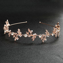 Trendy Rose Gold Color Alloy Hairband Women Bridal Headpiece Jewelry Wedding Bride Accessories bijoux cheveux mariage