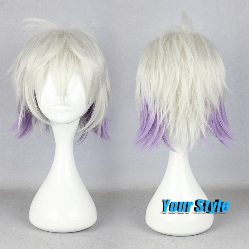 35cm Fashion Cheap Short Pixie Wigs Cosplay Anime Hairstyles Haircuts Silver White and Purple