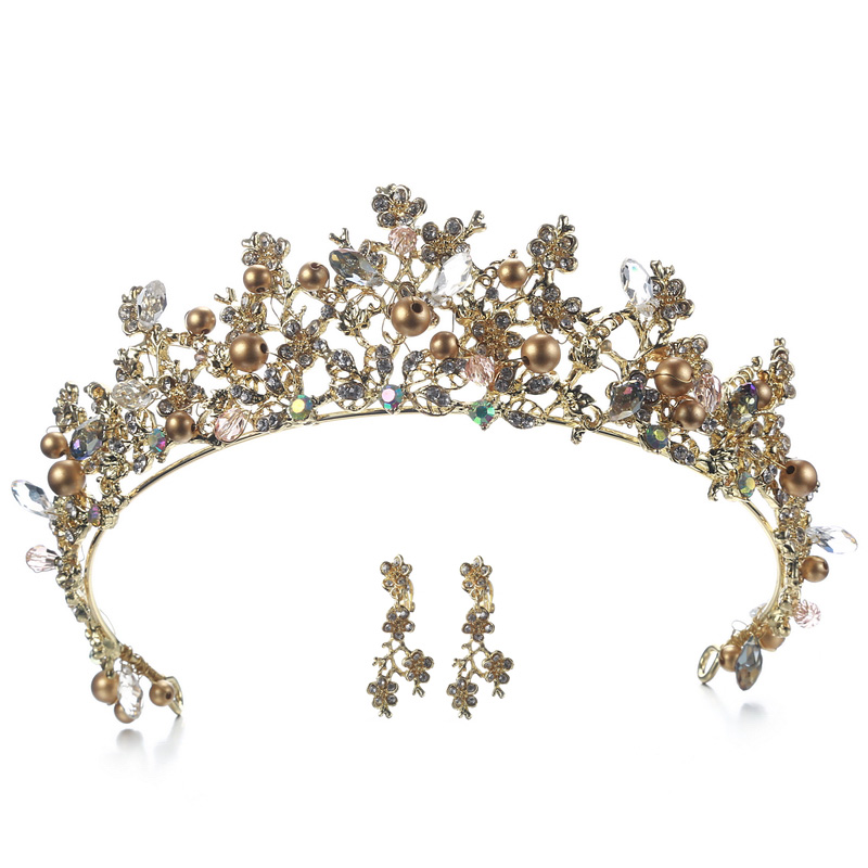 Bridal Crown Flower Bride Hair Jewelry Crystal Tiara Princess Crown Wedding Hair Accessories Handmade hair jewelry vintage gold round crystal tiara baroque rhinestones princess queen crown for bride hair accessories wedding crown hair jewelry