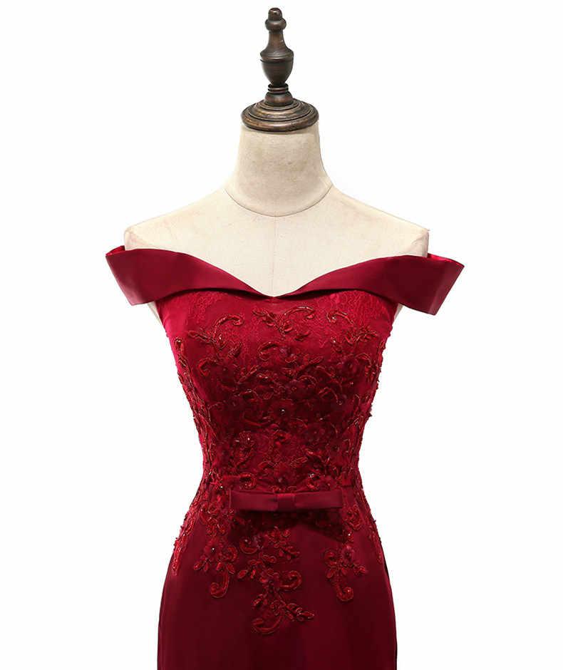 Vestidos de la madre de la novia de la sirena del hombro de la madre de la novia de Borgoña para la fiesta de bodas vestidos de noche con cuentas vestido de la madrina del novio