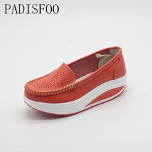 POADISFOO Genuine Leather Women s n Wedges Casual Shoes Flexible Platform Comfy loafers Shoes with Print