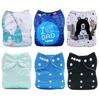 [Mumsbest] 6PCS Baby Cloth Diapers With 6 Microfiber Inserts Baby Digital Position Nappies with Liners Unique Diaper Covers