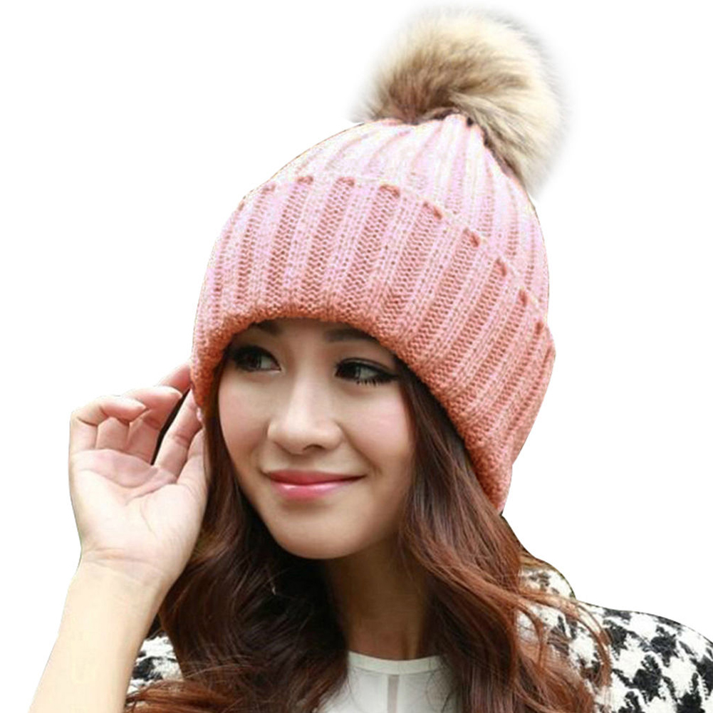 Fashion Women'S Warm Hat Spring Winter Knitted Hats Rabbit Fur Pompons Elegant Beanies Female Girl Bonnet Pom Pom Caps For Women hot skullies beanies winter hat pom pom caps for women girl vintage solid hemming warm spring autumn hat female wsep21