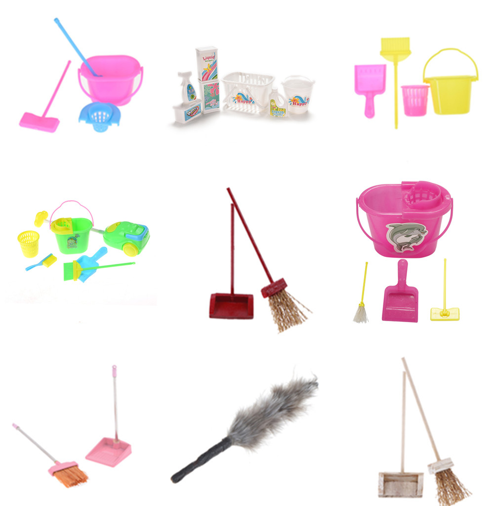 1/12 Scale Miniature Mop Dustpan Bucket Brush Housework Cleaning Tools Dollhouse Garden Accessories for Dolls