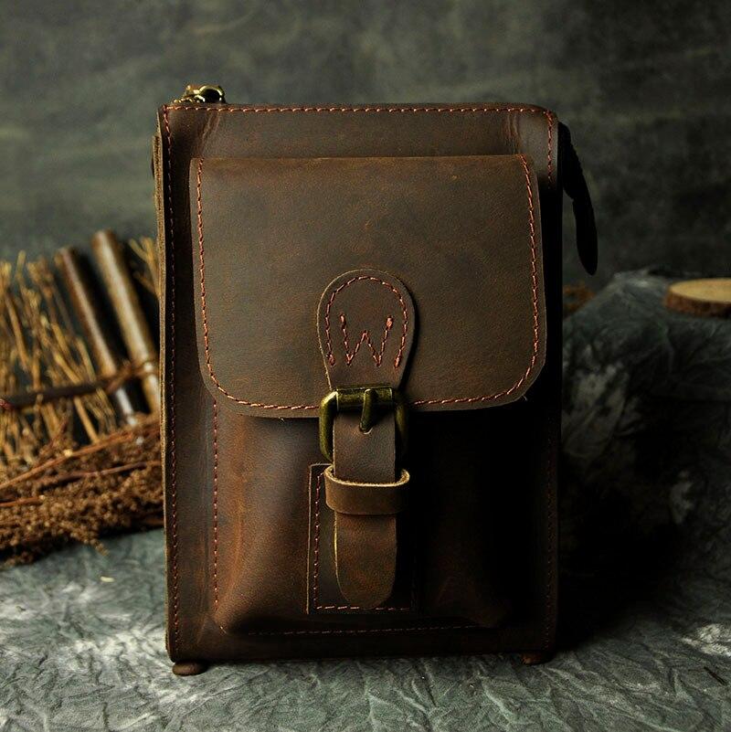 Модная Натуральная кожа Мужская многофункциональная Повседневная дизайнерская маленькая сумка мессенджер на одно плечо сумка через плечо поясная сумка для телефона - 3