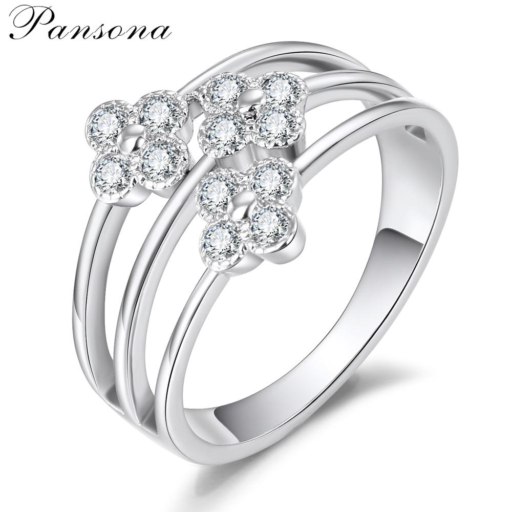 2018 Fashion New White Gold Rings birthday gift Flower ZIRCON Finger Ring For Women Fashion women`s Jewelry Gift RG027