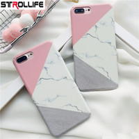 STROLLIFE Ultra Slim Scrub Hard PC Phone Cases For iPhone 7 case Geometric Splice Marble Frosted Full Cover For iPhone 7 Coque