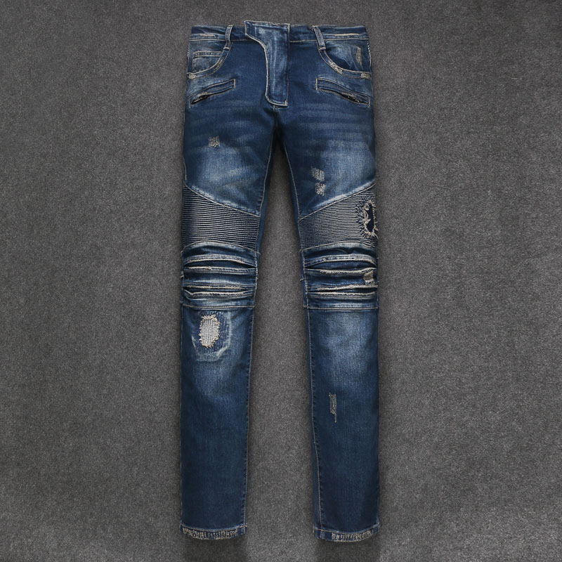 2018 New Men Jeans Runway Slim Racer Biker Jeans Fashion Hiphop Skinny Jeans For Men Denim Joggers Pants Male Y1011
