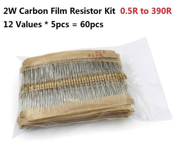 12 valeurs * 5 pièces = 60 pièces 0.5R 390R 2W 5?rbone Film Résistance kit Assortiment pack 1R 4.7R 10R 20R 30R 47R 100R 120R 200R 300R OHM | AliExpress