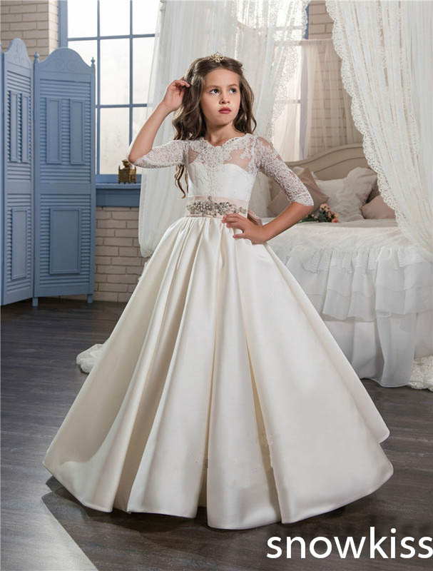 White/ivory long first communion dresses with lace appliques beaded little kids pageant dress with bow flower girl dresses cute new long sleeves white ball gown flower girl dresses french lace beaded first communion dress with sequin bow and sash