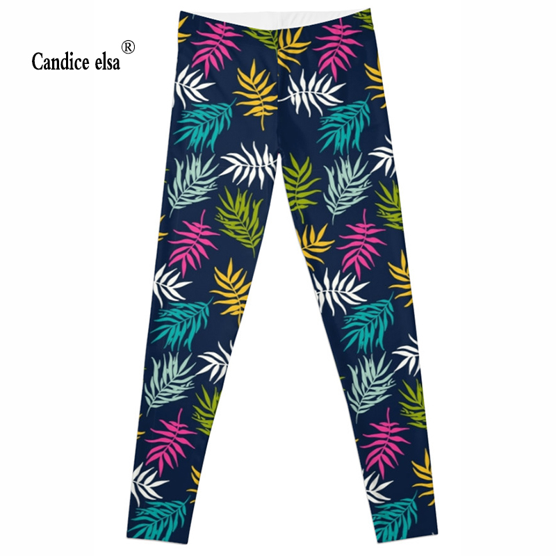 CANDICE ELSA women leggings workout legging fitness female pants elastic colorful leaf printed sexy trousers plus size wholesale in Leggings from Women 39 s Clothing