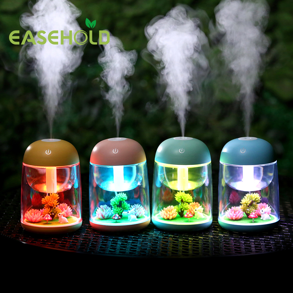 Easehold 180ml Micro Landscape Humidifier Night Light Ultrasonic USB Humidifiers Mist Maker Mini Air Purifier Office Decorations 5pcs lot 8 130mm replacement cotton swab for air ultrasonic humidifiers mist maker humidifier part replace filters can be cut