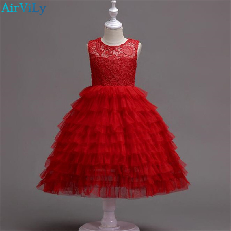 2018 New Girls Dress Children Lace Cake Dresses Layered Baby Mesh Party Frocks Kids Birthday Ball Gown Wedding Clothing for Girl baby girls white dresses for wedding and party wear girl princess dress kids lace clothes children costume age 3 4 5 6 7 8 9 10