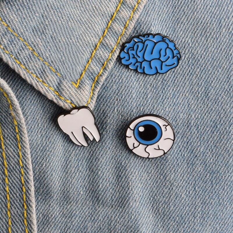 Мультфильм Органы мозг глаз зуб металлическая брошь и пуговицы Шпильки сумка футболка джинсовая куртка Булавки знак Модные украшения