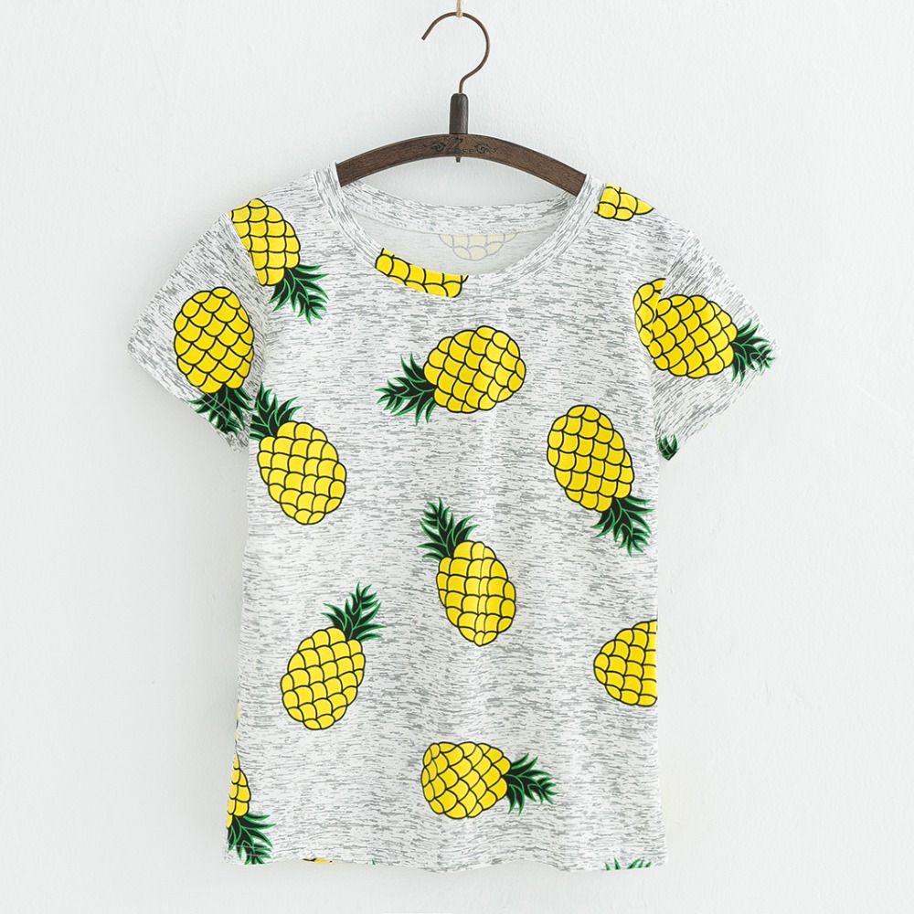 JKKUCOCO Hot Style Pineapple Print Tees Short Sleeve T-shirt Women t shirt Summer Cotton t-shirt Women Tops Causal t-shirts 10