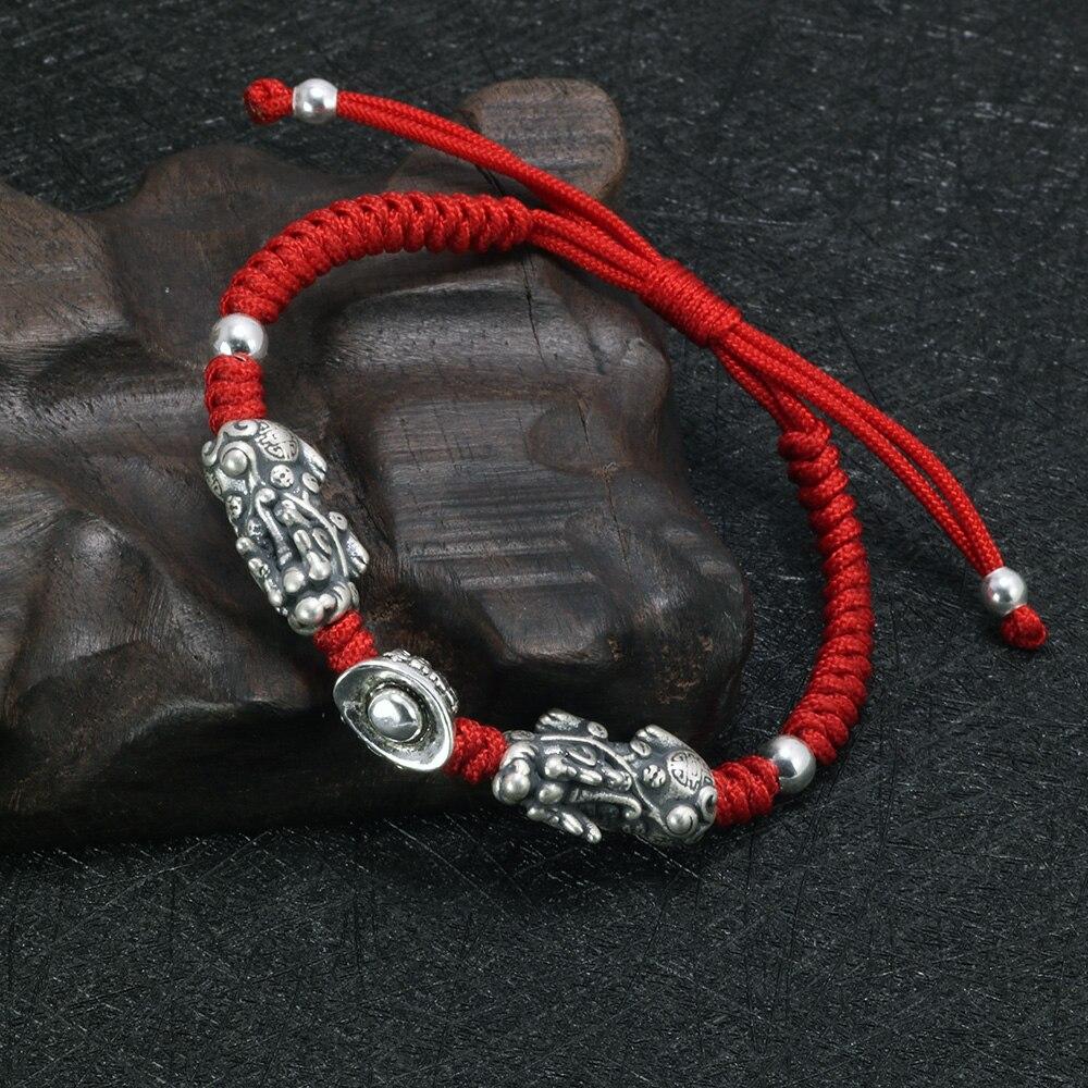 Reale 925 Sterling Silver Doppio Pixiu Con Lingotto Tibetani Fatti A Mano Nodi Fortunato Braccialetto di Corda Rosso Per Gli Uomini E Le Donne Amuleto gioielli