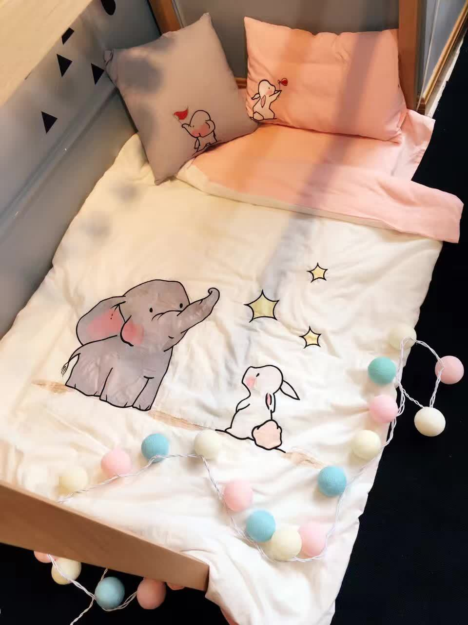 3 Pcs Baby Bedding Set Breathable Baby Bedding Sets For Cots Cartoon Elephant Crib Quilt Cove Sheet Detachable Baby Bed Sets pink french toile fitted crib sheet for baby and toddler bedding sets by sweet jojo designs toile print