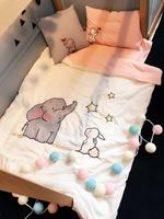 3 Pcs Baby Bedding Set Breathable Baby Bedding Sets For Cots Cartoon Elephant Crib Quilt Cove Sheet Detachable Baby Bed Sets