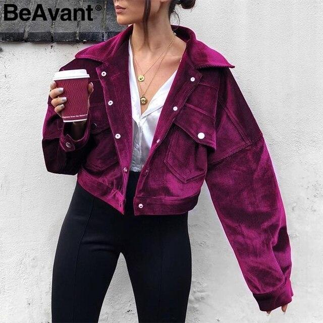 3cd5ae9cd2c36 BeAvant sztruksowe pojedyncze piersi fioletowy kurtki 2018 High street klub  kurtka płaszcz kobiety dorywczo kieszeń kurtka