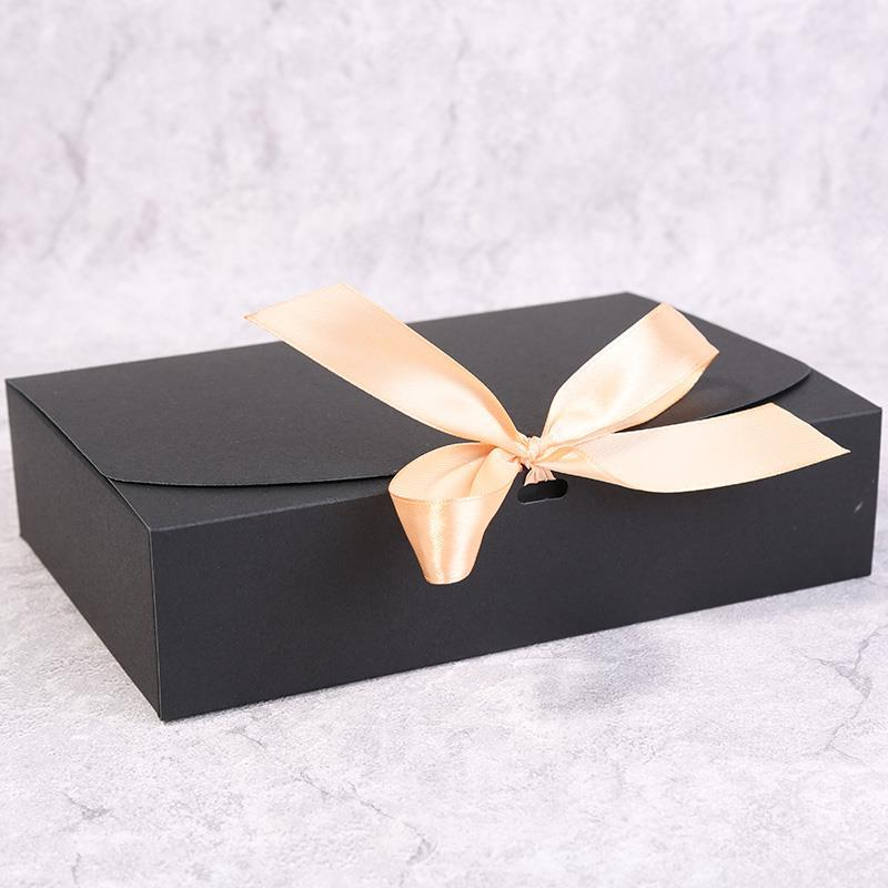 Image 3 - Multiple size Black White Kraft Paper Gift Box Package Wedding Party Favor Candy Boxes with Ribbon-in Gift Bags & Wrapping Supplies from Home & Garden